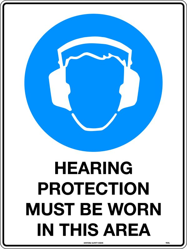 Hearing Protection Must Be Worn In This Area Safety Signage