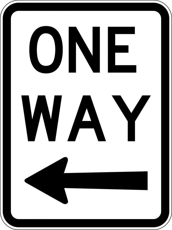 Left Arrow One Way Traffic Sign