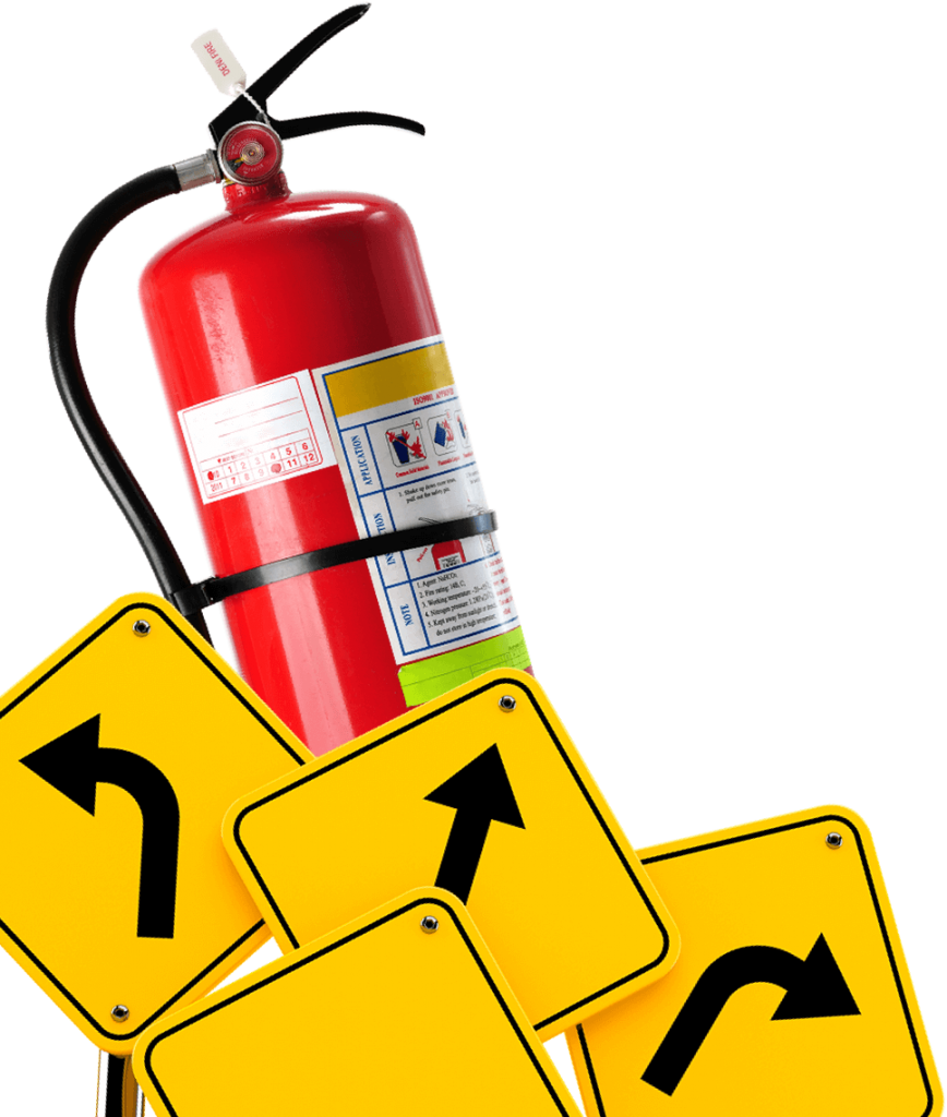Fire Extinguisher With Arrow Signage
